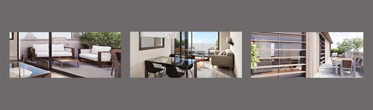Terrazas de los pisos obra nueva Eixample Barcelona
