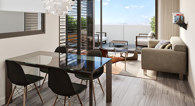Áticos y pisos en venta obra nueva Barcelona - Còrsega 685. Salón - CASAÁTICO