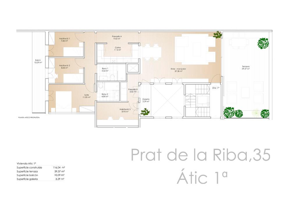 Av. Prat de la Riba 35 - Àtic 1a - Plànol - CASAÁTICO Barcelona