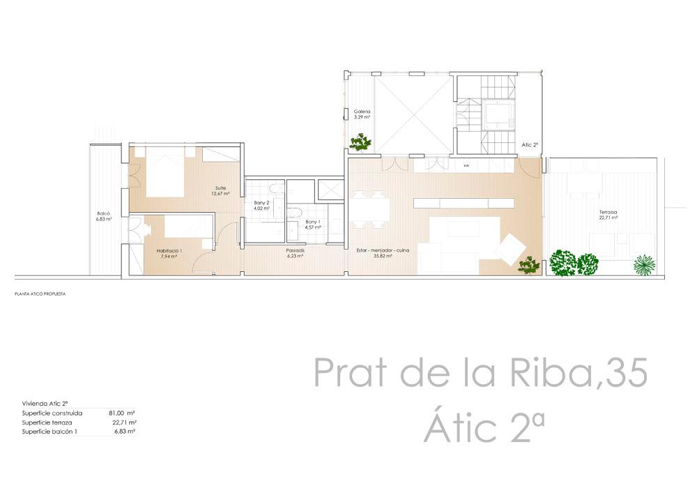 Av. Prat de la Riba 35 - Àtic 2a - Plànol - CASAÁTICO Barcelona