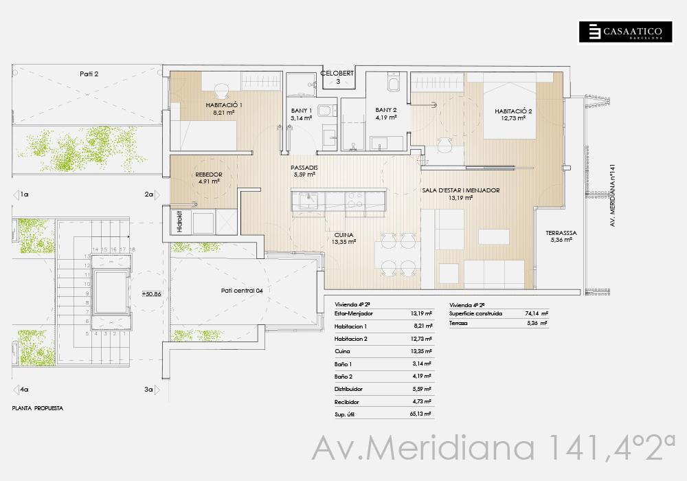 Meridiana 141 - Plano 4º 2ª - CASAÁTICO
